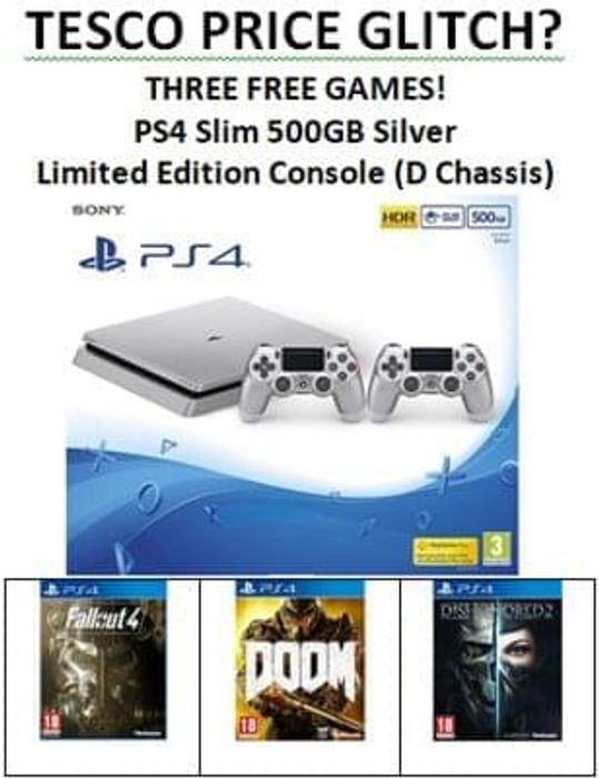 Price Glitch? PS4 500GB Slim + 2 Controllers+Fallout 4+Dishonored 2+Doom £249.99
