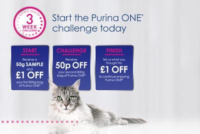 Free 50g Purina one cat food sample plus £1 off coupon