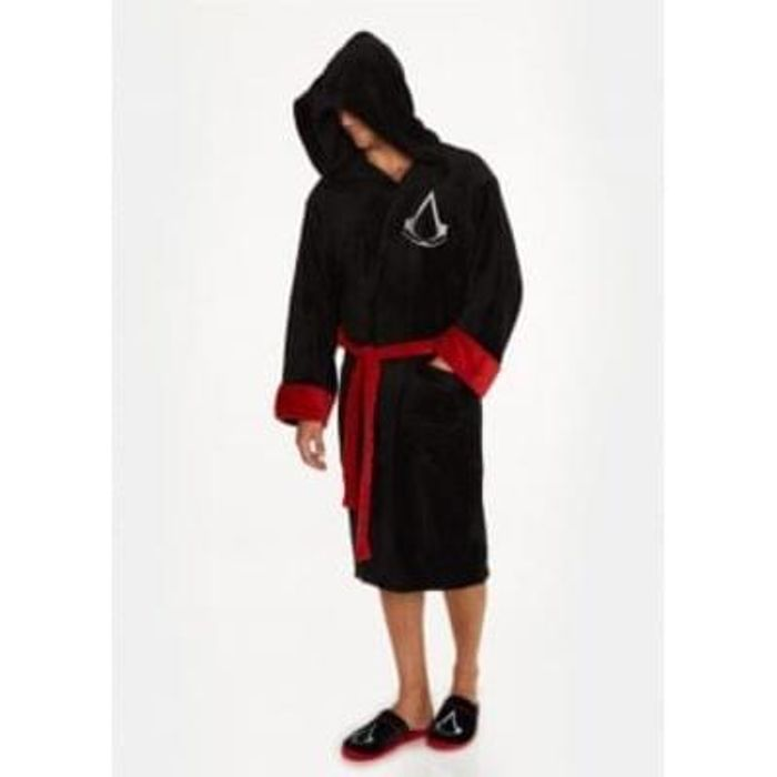 Assassins Creed Adult Black Fleece Bathrobe