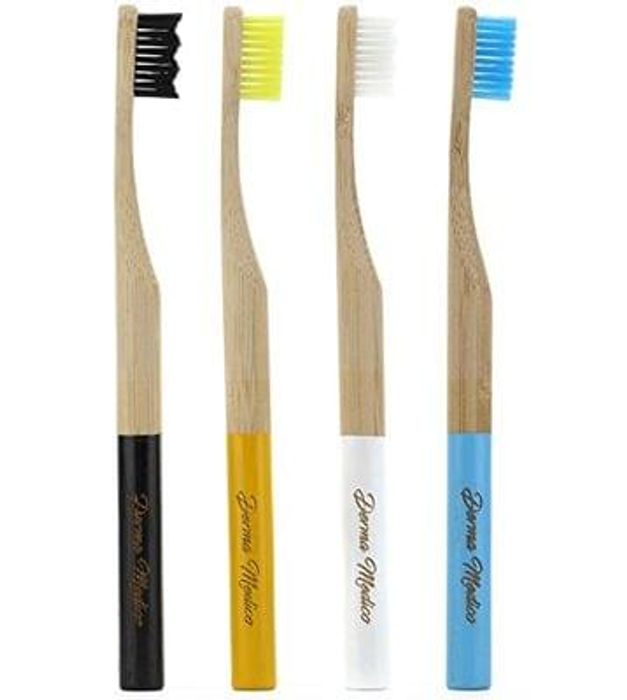 Pack of 4 Bamboo Toothbrush es with Rounded Handle