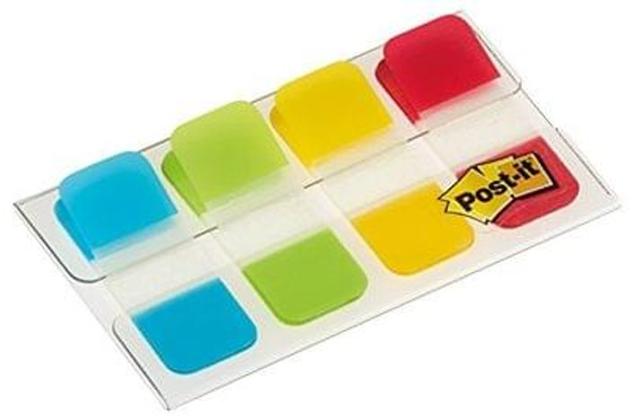 Post-it 15.8 x 38.1 mm Strong Index - Aqua/Lime/Yellow/Red Pack of 40 Tabs