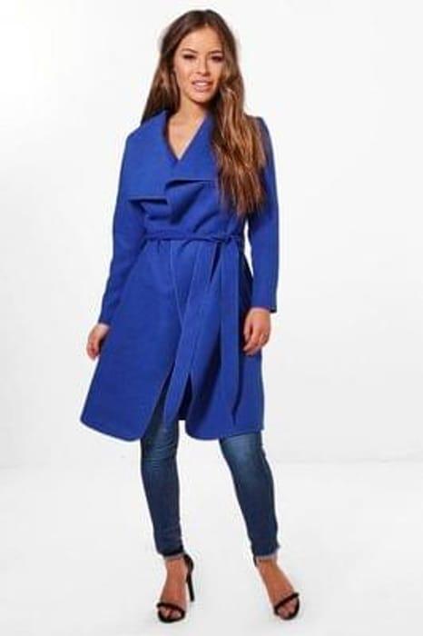 petite sinead belted shawl collar coat