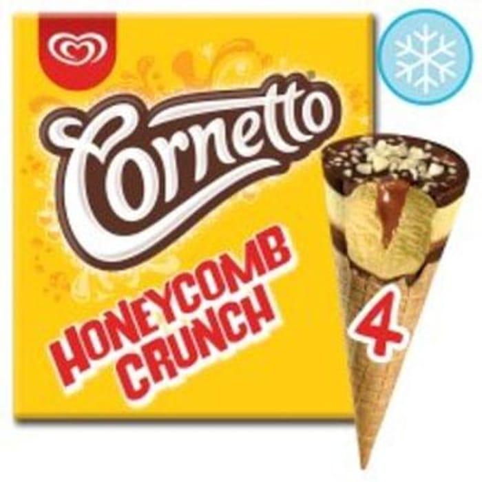 Tesco - Cornetto Honeycomb Crunch Ice Cream Cone 4 X 90Ml