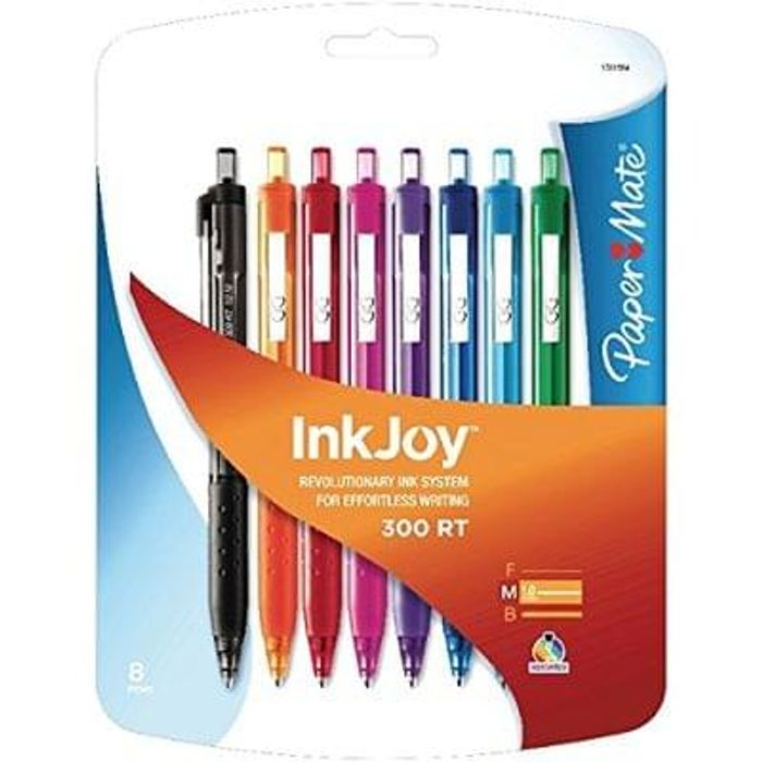Paper Mate Inkjoy 8x 300 RT Retractable Ball Pens Save £1.29 Free Delivery