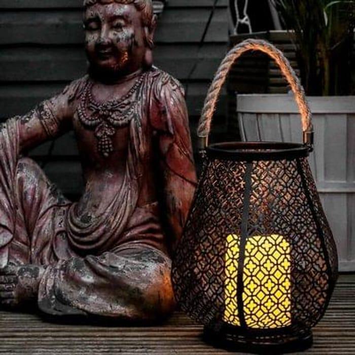 Outdoor Battery Metal Flickering Candle Lantern