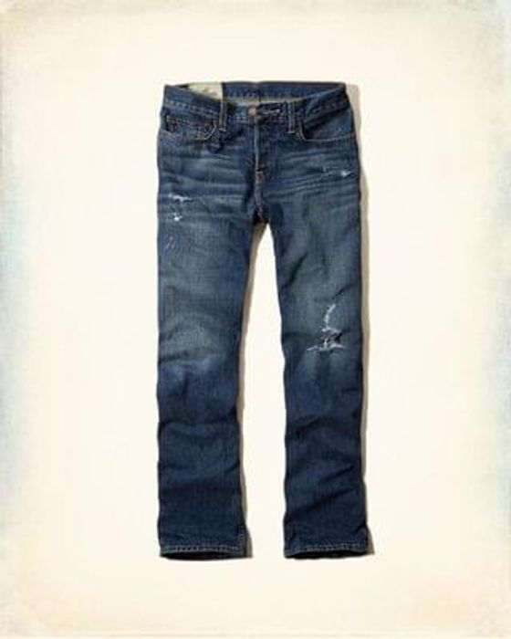 Hollister Boot Button Fly Jeans - Destroyed Medium Wash