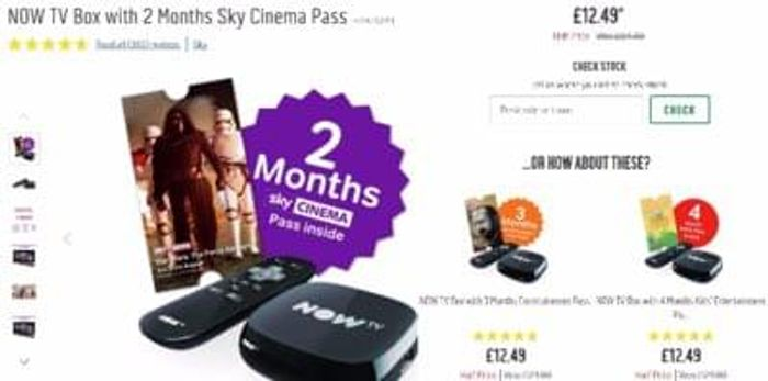 Argos - Half price NOW tv boxes with 2/3/4 months pass