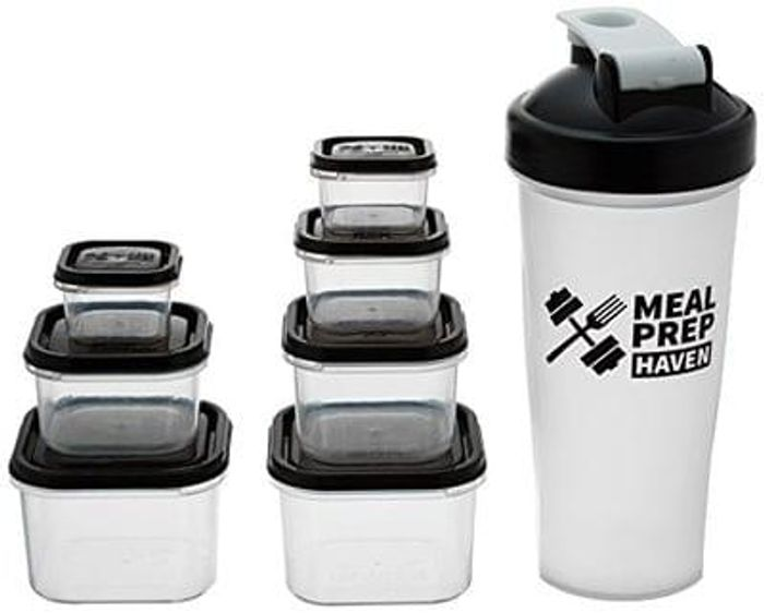 7 Piece Portion Control Containers & Protein Shaker, 100% Leak Proof, Black Lids
