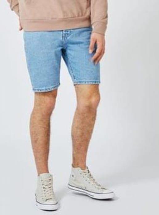 Light Blue Slim Denim Shorts