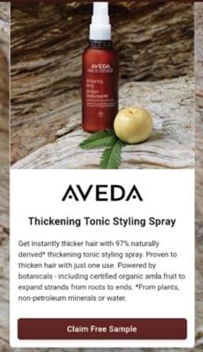 Free Aveda hair thickening tonic