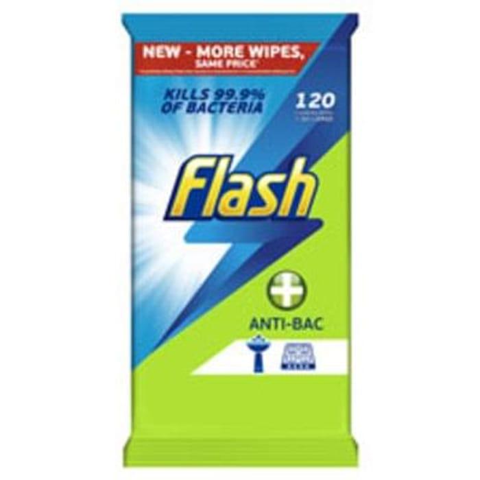Flash Wipes Antibacterial 120pk *HALF PRICE* Free C+C