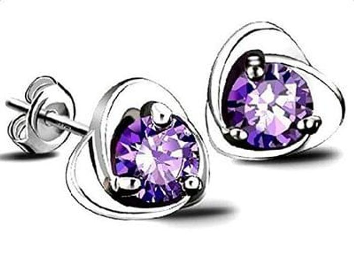 Hosaire 1 Pair Earrings Fashion Elegant Silver Purple