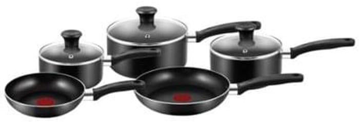 Tefal Essential Cookware Set - Black, 5 Pieces Save £70 Free C+C