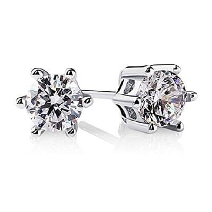 B.Catcher 925 Sterling Silver Round Cut Cubic Zirconia Stud Earrings Sets