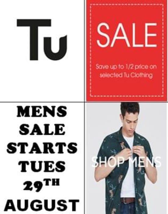 Sainsbury's Tu Mens Sale 50% Off Starts Tuesday 29th