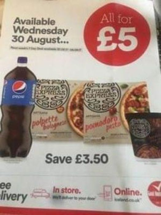 Iceland - £5 Pizza Express meal deal