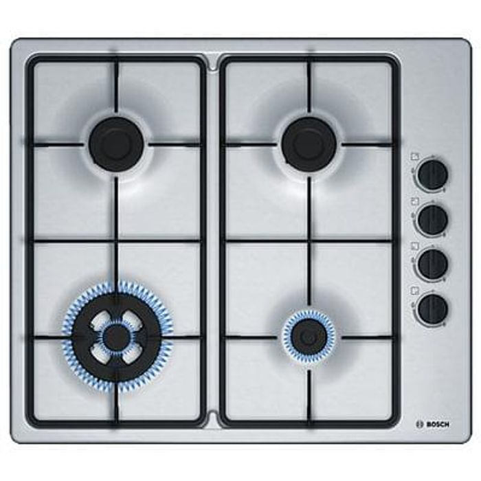 Bosch Serie 2 PBH6B5B60 Gas Hob with Wok Burner, Brushed Stainless Steel