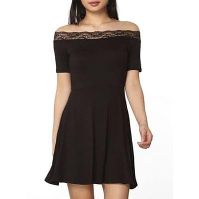 Dorothy Perkins - Petite black lace bardot dress
