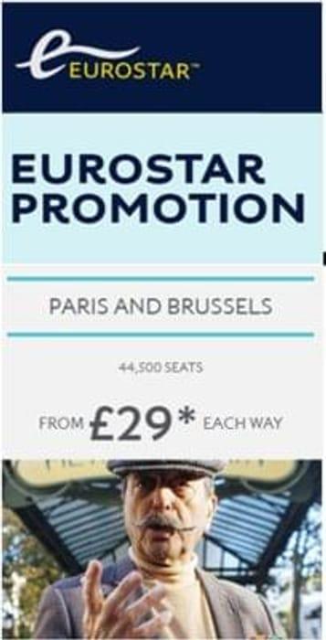EUROSTAR Promo! Paris or Brussels £58 Return !