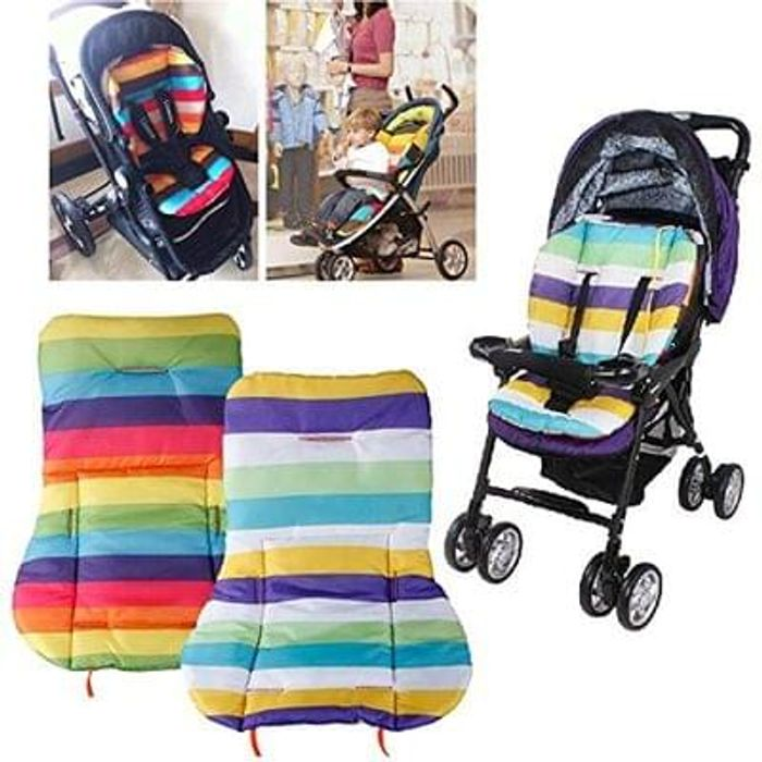 Waterproof Cushion Padding Liner Seat Pad Rainbow For Baby Stroller Pram