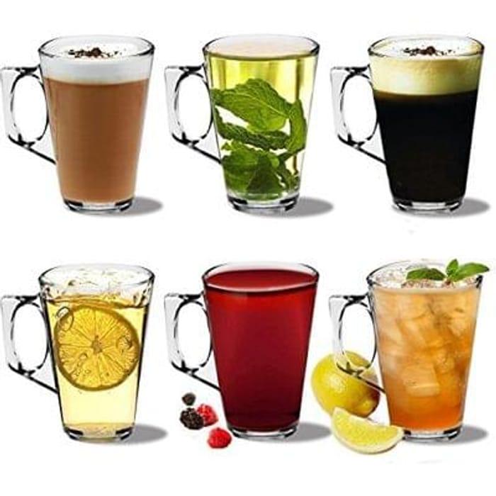 Rink Drink Latte Coffee Glasses - 250ml (8.8oz) - Gift Box of 6 Save £6 Free P&P
