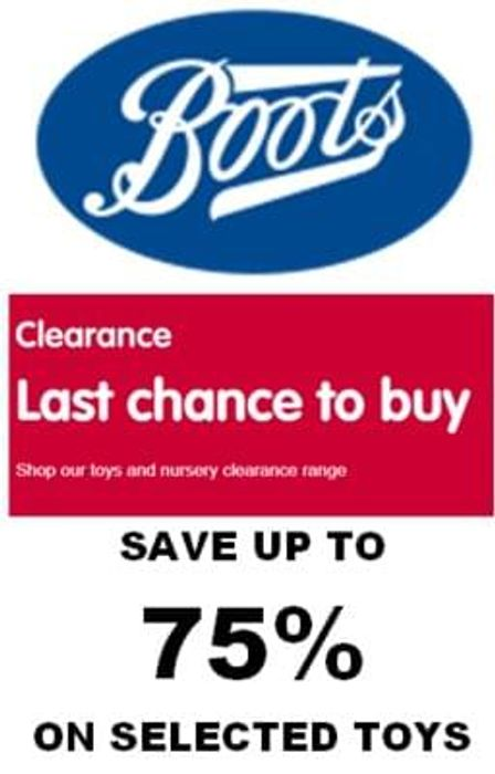 LAST CHANCE! TOYS CLEARANCE AT BOOTS - Up To 75% Off