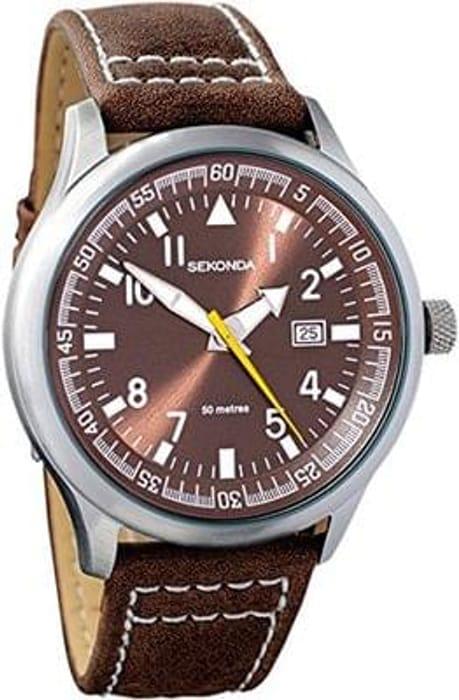 Sekonda Gents Brown Dial Date Strap WR Watch 3882