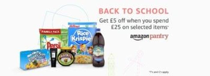 Amazon pantry back to school promotion £5 off a £25 spend (on selected items)