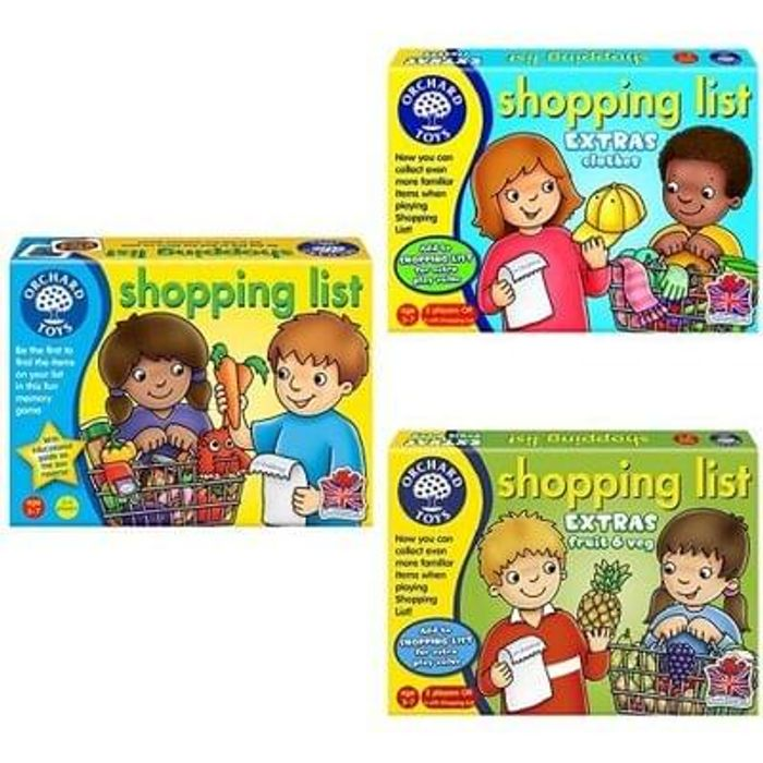 BUNDLE! Orchard Toys Shopping List + Clothes & Fruit & Veg Booster Packs