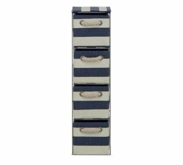 HOME Tall 4 Drawer Storage Tower - Blue and White