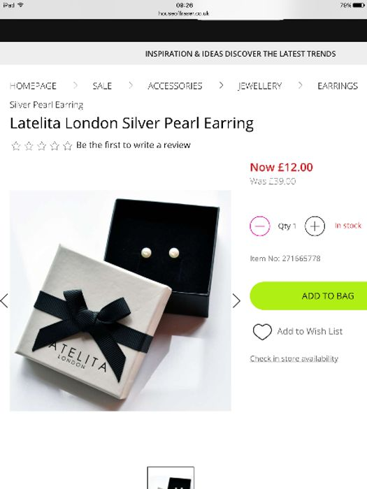Latelita London Silver Pearl Earrings