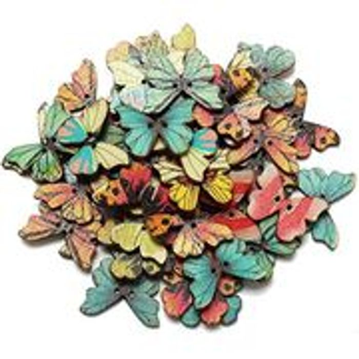 50pcs 2 Holes Mixed Butterfly Buttons (Free Delivery)