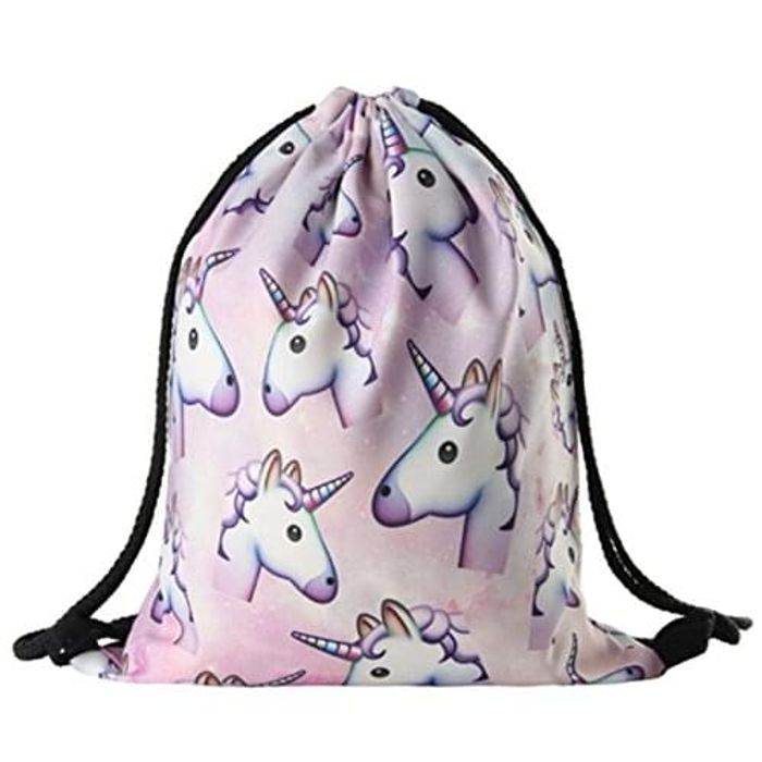 Unicorn Print Drawstring Backpack Free Delivery