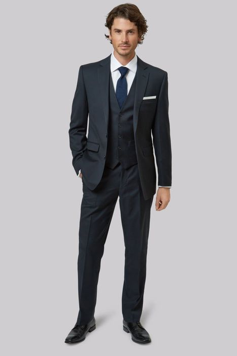 Tailored fit Navy suit jacket at MOSS BROS