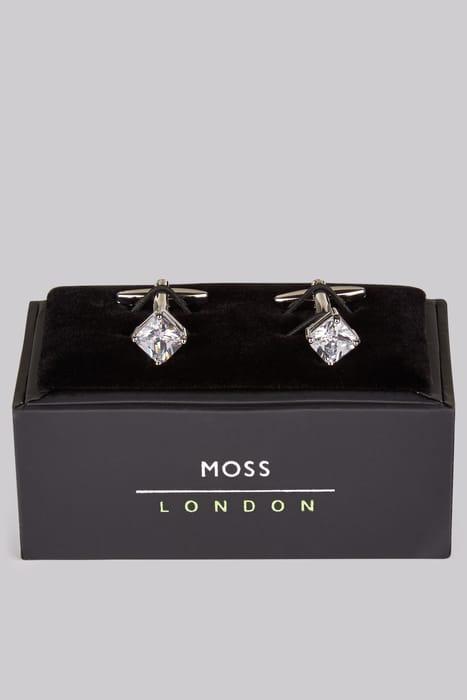 Square diamante cufflinks on sale at Moss Bros