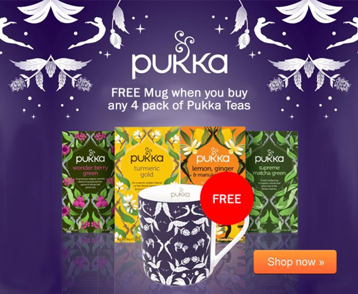 Bodykind - FREE Pukka Mug worth £5.99 with any 4 Pack of Pukka Teas