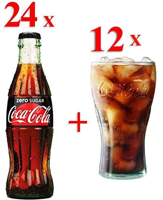 Zero Sugar Coca Cola in Glass Bottles 330ml x 24 and 12 Genuine Cola Glasses