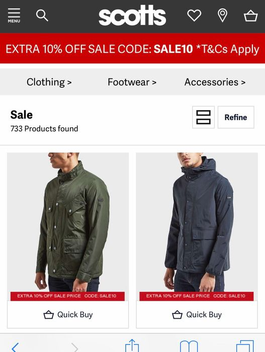 10% Extra off All Sale Items with Voucher at Scotts Menswear