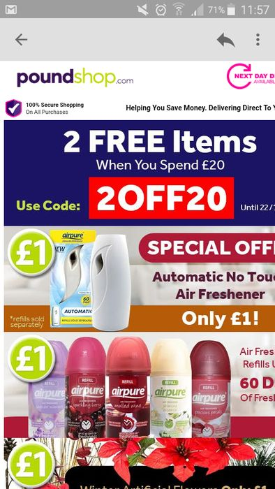 2 products for free when you spend 20£