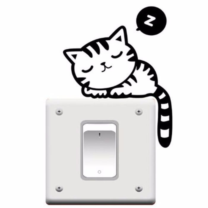 Little cat sleeping on your light switch