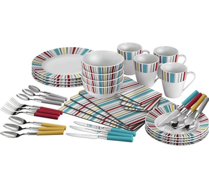 ColourMatch 40 Piece Porcelain Dinner Starter Set Striped *HALF PRICE* Free C&C