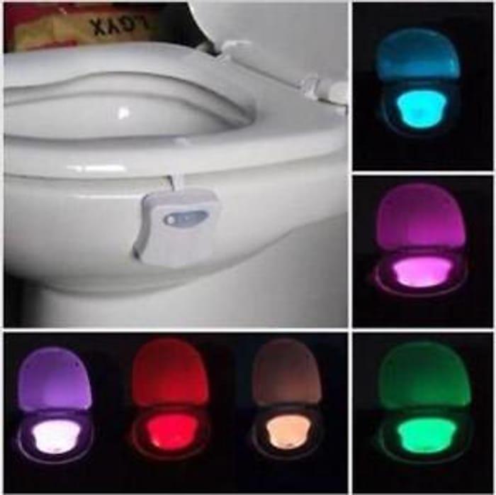 8-Color LED Motion Sensing Automatic Toilet Bowl Night Light FREE DEL