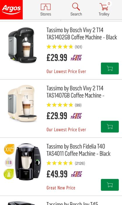 Tassimo Machines Reduced At Argos Prices Start From 2999