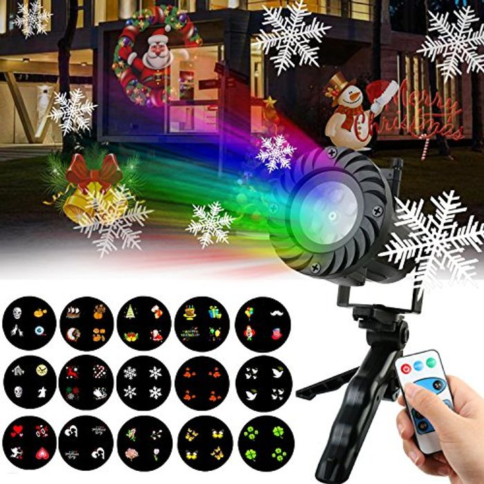 Christmas Lights Projector OKPOW 15pcs Color Slide Show Projection