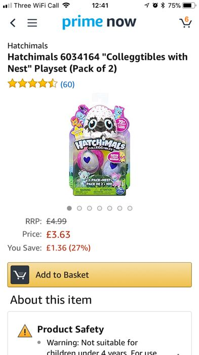 Hatchimals Colleggtibles (Pack of 2) £3.63 on Amazon Prime Now App