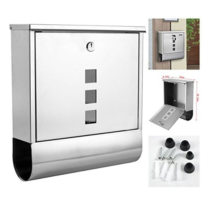 Lockable Stainless Steel Weather Proof Mail Letter Box Post Box