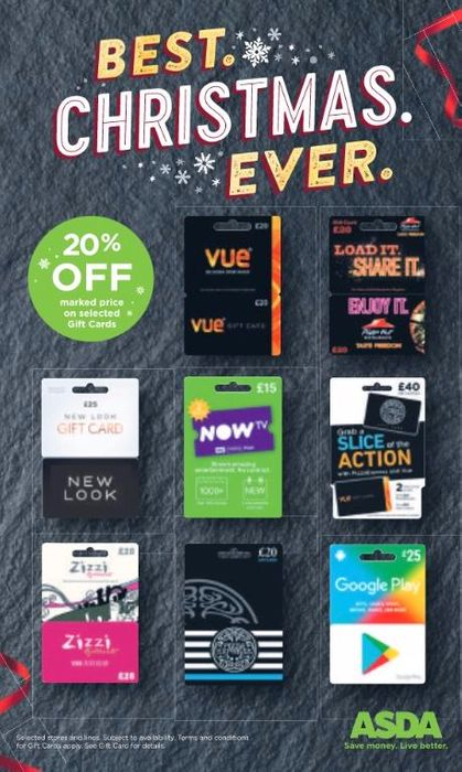 20 Off Gift Card Savings For Christmas Shopping Black Friday At Asda Latestdeals Co Uk