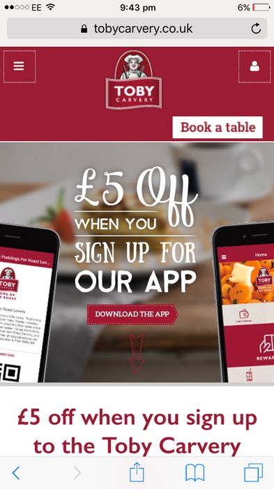 £5 off Toby Carvery Food Bill