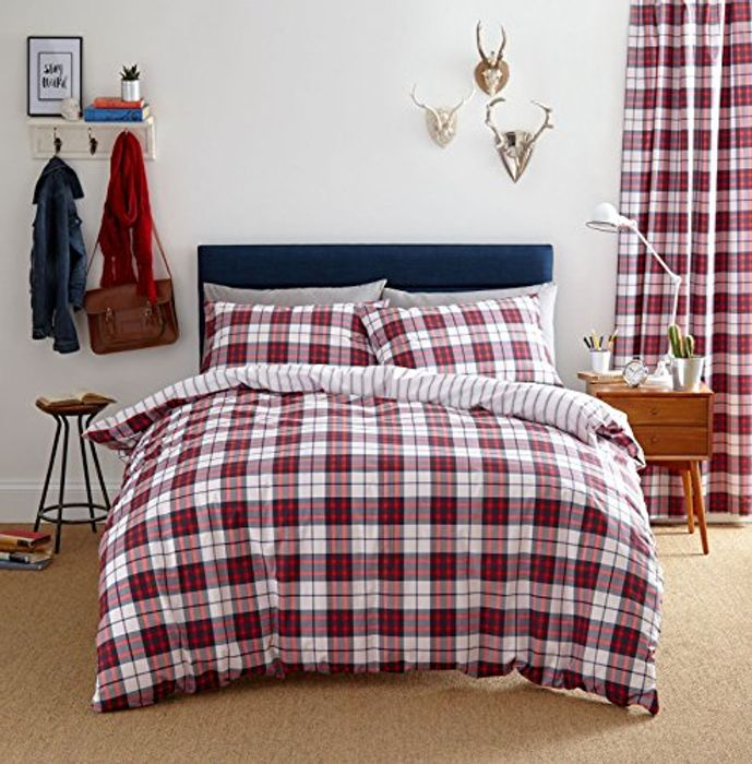 Henley Check Double Duvet Set, Red