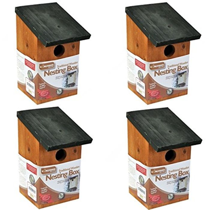 4 X WOODEN NESTING NEST BOX BIRD HOUSE Free Delivery